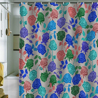Bianca Green Roses Sesor Shower Curtain