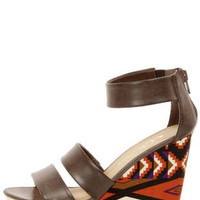 Chinese Laundry Ines Brown Printed Platform Wedge Sandals
