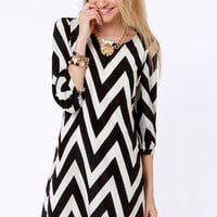 Pack Your Zigzags Black Chevron Print Dress