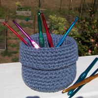 Denim Blue Basket Container Organizer Cotton by TheCrochetLady1
