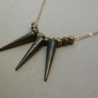 Spike necklace in gunmetal brass and gold on by littlepancakes