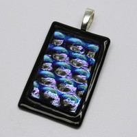 Dichroic pendant blue bubble texture on black