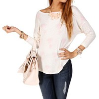 Ivory/Pink Dolman Rose Print Top