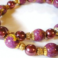 Purple and Yellow Handpainted Wood Beads Necklace with Plum Accent Beads