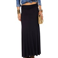 Navy Ruched Waist Maxi Skirt