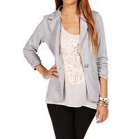 Heather Grey 3/4 Knit Blazer