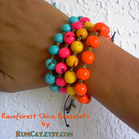Rainforest Chica Bracelets - THREE Açaí bead bracelets - acai, natural, summer, beach, stackable, rainforest, colors, natural, friendship