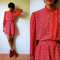 Vtg Red Silk Floral Print Mandarin Collar LS Belted Dress