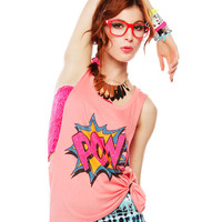 Papaya Clothing Online :: POW COMIC TANK WITH RIPPED BACK