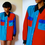 Vtg Color Block Red Blue Green Black Button Down Shirt