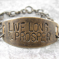 Live Long and Prosper Star Trek Quote Bracelet by CobwebCorner