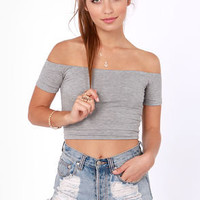 Crop Top Story Grey Off-the-Shoulder Top
