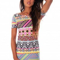 Multi Color Aztec Print Short Sleeve Dress