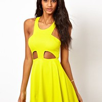 Oh My Love Textured Skater Dress with Cut Out Detail at asos.com
