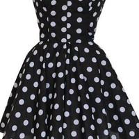 Pin-Up Black Polka Dot Prom Party Dress