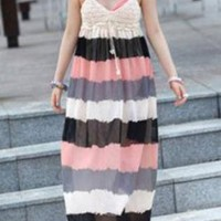 Gorgeous Color Block Stripe Long Dress