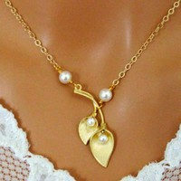 Calla Lily Necklace 14K Gold White Pearl Wedding Bridal Bridesmaid | Vivian-Feiler-Designs - Jewelry on ArtFire