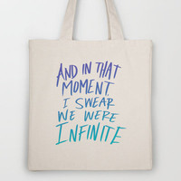Infinite (The Perks of Being a Wallflower) Tote Bag by Leah Flores Designs