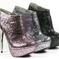 Amazon.com: SPRKLE! BLING (Silver) Glitter High Heel Bootie (Neutral-237): Shoes
