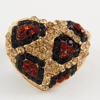 Amazon.com: Leopard Pave Bling Heart Shaped Crystal &amp; Rhinestone Size Free Adjustable Ring by Jersey Bling (BROWN LEOPARD): Jewelry