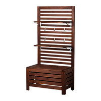 ÄPPLARÖ Bench with wall panel and shelf - IKEA