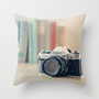 Vintage Film Camera  Throw Pillow by Laura Ruth 