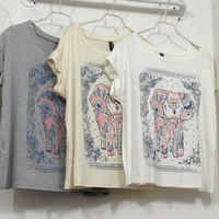 wwwbeautycall — National wind printed elephant loose t-shirts with short sleeves