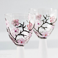 Wine Glasses or Candle Holders Hand Painted by NevenaArtGlass
