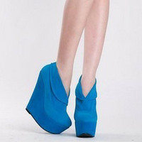 New Korea Women Retro Platform Wedges Pull On Ankle Bootie Solid Party Shoes 1mU