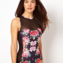 ASOS Floral Print Panel Swimsuit at asos.com