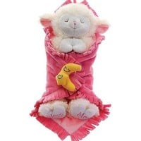 "11"" Praying Lambs Blanket Babies With Sound Prays Now I lay Me Down To Sleep (Pink for a Baby..."