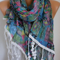 Aztec Scarf  - Cotton Scarf - Shawl - Cowl Scarf with Lace Edge - fatwoman- Geometrical Print -  Beach wear