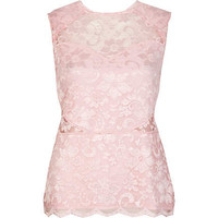 Pink lace scallop edge sleeveless top - sleeveless tops - tops - women