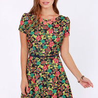 Blooms Traveler Black Floral Print Dress