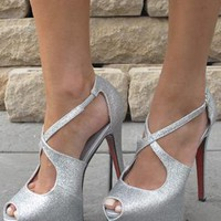 Silver glitter look heels with strap design from Chockers Shoes