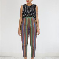 Vintage 80&#x27;s Brown Striped High Waisted Tapered Trousers  from House of Jam