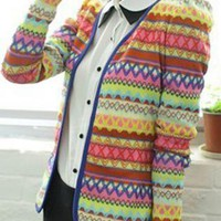 Cute,Embroidery,Rainbow,Knitting,Slim,Wrap,Cardigan
