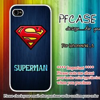 Superman Hero on blue wood : Case For Iphone 4/4s ,5 / Samsung S2,3,4