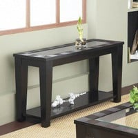 Alpine Furniture Sofa Table with Tempered Glass Insert in Dark Espresso - 145-03 - Accent Tables - Decor
