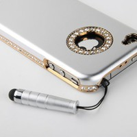 Pandamimi Sliver Luxury Bling Rhinestone Chrome Hard Back Case Cover for Apple AT&amp;T Sprint Verizon iPhone 4S 4 4G NEWEST With Front and Back Screen Protective Film &amp; Stylus:Amazon:Cell Phones &amp; Accessories
