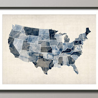 Watercolor United States Map USA Art Print on Etsy