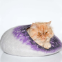 Cat bed, cat cave, wool pets house, grey with purple