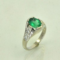 White Gold Brazilian Emerald and Diamond Ring | JewelerJim - Jewelry on ArtFire