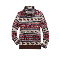 Allegra K Men 2012 Deers Pattern Casual Sweater Dark Blue Red Off-White M:Amazon:Clothing