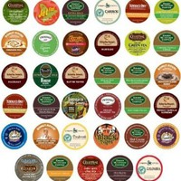 Green Mountain, Gloria Jean's, Timothy's, Coffee People, Donut House, Celestial Seasonings, Emeril's Unique Sampler K-Cup Portion Pack for Keurig Brewers, 35 Different:Amazon:Grocery & Gourmet Food