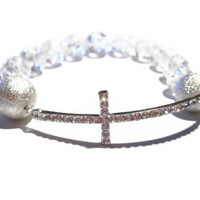 Sideway Cross Bracelet, Silver tone, Beaded Jewellery, Christian Jewelry, Pave Bracelets, Celebrity Inspired