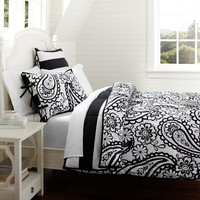 Garden Paisley Super Pouf Comforter + Sham, Black