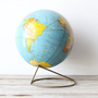 Vintage Globe on Modern Brass Stand