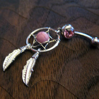 Dream Catcher Belly Button Ring -- Rose