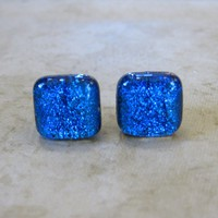 Dichroic Blue Earrings, Pierced Post Earrings, Earring Jewelry Tropical Nights 1419 - $17.00 - Handmade Crafts and Vintage Items by MySassyGlass
